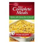 Betty Crocker - Helper Complete Meals Chicken With Cheesy Rice And Broccoli Boxes 0016000260412  / UPC 016000260412