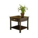 Winsomewood -  Contemporary Black Finish Solid Wood End Table w/Drawer 0021713201249