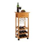 Winsomewood -  Winsome Wood Wine Cart with Drawer, Light Oak 0021713343338