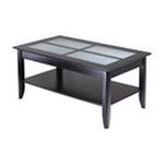Winsomewood -  Winsome Wood Syrah Coffee Table with Frosted Glass - Rectangle - 40 x 22.50 x 18.0 - Frosted Glass, Wood - Dark Espresso 0021713921406