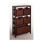 Winsomewood -  Espresso Wide 3 Section Storage Shelf with Baskets 0021713926258