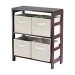 Winsomewood -  Capri Low Storage Shelf with 4 Foldable Beige Fabric Baskets 0021713928610