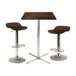 Winsomewood -  Kallie 3-Pc Square Pub Table with 2 Air Lift Wood Seat Stools 0021713933539