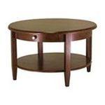 Winsomewood -  Antique Walnut Finish Round Coffee Table w/Drawer 0021713942319