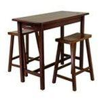 Winsomewood -  3pcs Walnut Finish Breakfast Table & 2 Stools Set 0021713943446
