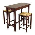 Winsomewood -  3pcs Breakfast Table & 2 Rush Seat Stools Set 0021713943743
