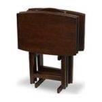 Winsomewood -  5PC Walnut Finish TV Tray Tables with Stand 0021713945174