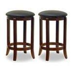 Winsomewood -  Set of 2 Walnut Finish Faux Leather Seat 24H Bar Stools 0021713946249