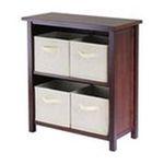 Winsomewood -  Verona Low Storage Shelf with 4 Foldable Beige Fabric Baskets 0021713948717