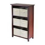 Winsomewood -  Verona Storage Shelf with 6 Foldable Beige Fabric Baskets 0021713948816