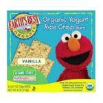 Earth's Best -  Organic Sesame Street Yogurt Rice Crisp Bars Vanilla Boxes Value Bulk Multi-pack 30 0023923203341