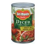 Del monte -  Del Monte Diced Tomatoes with Zesty Mild Green Chilies  0024000034704