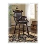 Ashley Furniture - Dark Brown 30 inch Tall Upholsteres Swivel Barstool by Ashley Furniture 0024052066661  / UPC 024052066661