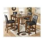 Ashley Furniture - Warm Brown 5 Piece Square Counter Table Set - Signature Design by Ashley Furniture 0024052078855  / UPC 024052078855