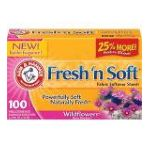 Arm & Hammer - Fabric Softener Sheets 100 sheets 0033200147701  / UPC 033200147701