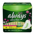 Always - Pads Ultra Thin Flexi-wings Regular Moderate Clean Fresh Scent 0037000029236  / UPC 037000029236
