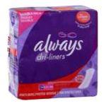 Always - Pantiliners 68 pantiliners 0037000107958  / UPC 037000107958