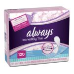 Always - Pantiliner Thin Regular Wrapped Unscented 120 pantiliners 0037000107965  / UPC 037000107965
