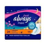 Always - Maxi Overnight With Wings Fresh Pads 24 pads 0037000110798  / UPC 037000110798
