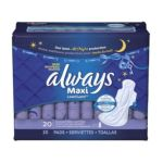 Always - Maxi Overnight Extra Heavy Flow With Wings Unscented Pads 20 pads 0037000179023  / UPC 037000179023