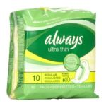 Always - Thin Ultra Maxi Pads Regular With Wings 10 Pads Pack 10 pads 0037000349662  / UPC 037000349662