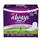 Always - Always Maxi Leakguard Plus Odor-lock Long Super Without Wings-light Scent-20 Ct 0037000477624  / UPC 037000477624