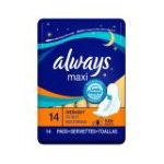 Always - Maxi Pads Overnight With Wings Unscented 14 pads 0037000600404  / UPC 037000600404