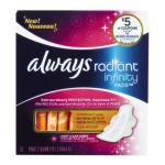 Always - Radiant Infinity Overnight With Wings Fresh 12 pads 0037000813118  / UPC 037000813118