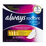 Always - Fresh Infinity Radiant Regular With Wings 16 pads 0037000819134  / UPC 037000819134