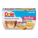 Dole - Peaches And Cr me Fruit Parfait 4-pack Containers 0038900030117  / UPC 038900030117