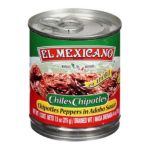 El Mexicano -  Ingredients Chipotle Peppers Water Vinegar Tomatoes Onions Iodized Salt Sugar Vegetable Safflower Soybean Canola Corn Starch & Spices 0042743230337