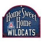 Wincraft -  Wincraft Arizona Wildcats 11x9 Home Sweet Home Wood Sign 0043662194564