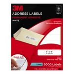 3M -  3M Permanent Adhesive Address Labels, 1 x 4 Inches, White, 2000 per Pack (3100-D) 0051141255989