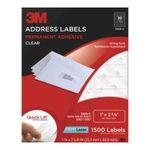 3M -  3M Permanent Adhesive Address Labels, 1 x 2.62 Inches, Clear, 1500 per Pack (3400-C) 0051141256399