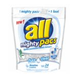 All - Mighty Pacs Free & Clear Concentrated Laundry Detergent 24 Loads 0072613458448  / UPC 072613458448