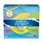 Tampax - Pearl Plastic Moderate Flow Multipax Unscented 36 ct 0073010001305  / UPC 073010001305