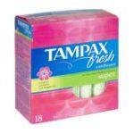 Tampax - Fresh Cardboard Tampons Super Scented 18 tampons 0073010004436  / UPC 073010004436