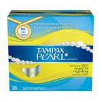 Tampax - Pearl Plastic Regular Absorbency Unscented Tampons 36 tampons 0073010004559  / UPC 073010004559