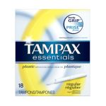 Tampax - Essentials Tampons With Plastic Applicator Unscented Regular 18 tampons 0073010015395  / UPC 073010015395