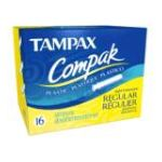 Tampax - Compak Tampons With Compact Plastic Applicator Regular Absorbency 16 tampons 0073010271104  / UPC 073010271104