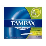 Tampax - Cardboard Multipax Tampons 36 tampons 0073010506022  / UPC 073010506022