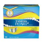 Tampax - Pearl Plastic Regular Absorbency Scented Tampons 36 ct 0073010710160  / UPC 073010710160