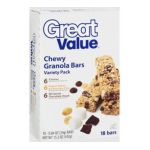 Great Value -  18 Chewy Granola Variety Pack Bars 0078742083513
