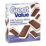 Great Value -  100 Calorie Minis Vanilla Ice Cream Sandwiches 0078742122601