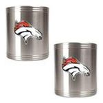 Great American Products -  Great American Products Denver Broncos 2 Piece Stainless Steel Can Holder 0089006027709