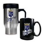 Great American Products -  MLB Royals Stainless Steel Travel Mug and Black Ceramic Mug Set 0089006032901