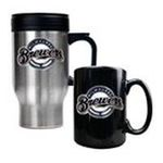Great American Products -  MLB Brewers Stainless Steel Travel Mug and Black Ceramic Mug Set 0089006032925