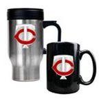 Great American Products -  MLB Twins Stainless Steel Travel Mug and Black Ceramic Mug Set 0089006032932