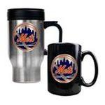 Great American Products -  MLB Mets Stainless Steel Travel Mug and Black Ceramic Mug Set 0089006032949