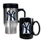 Great American Products -  MLB Yankees Stainless Steel Travel Mug and Black Ceramic Mug Set 0089006032956